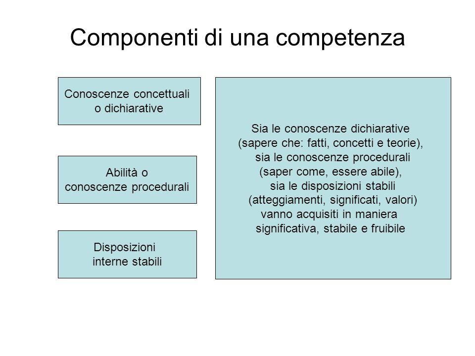 Componenti di una competenza Conoscenze concettuali o dichiarative Abilità o conoscenze procedurali Disposizioni interne stabili Sia le conoscenze dic