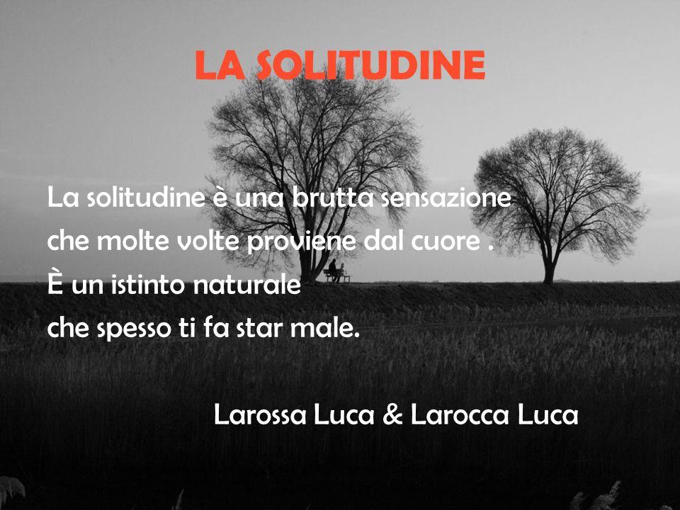 LA SOLITUDINE La solitudine è una brutta sensazione che molte volte proviene dal cuore.
