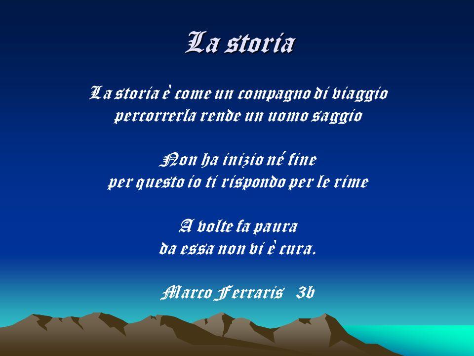 La storia La storia è come un compagno di viaggio percorrerla rende un uomo saggio Non ha inizio né fine per questo io ti rispondo per le rime A volte fa paura da essa non vi è cura.