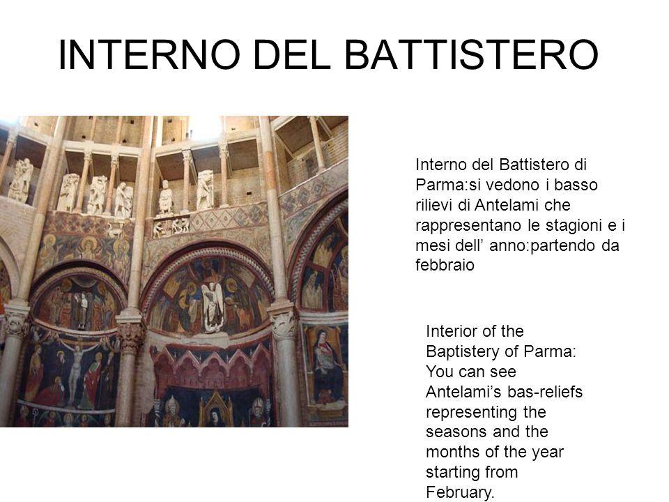 INTERNO DEL BATTISTERO Interno del Battistero di Parma:si vedono i basso rilievi di Antelami che rappresentano le stagioni e i mesi dell anno:partendo