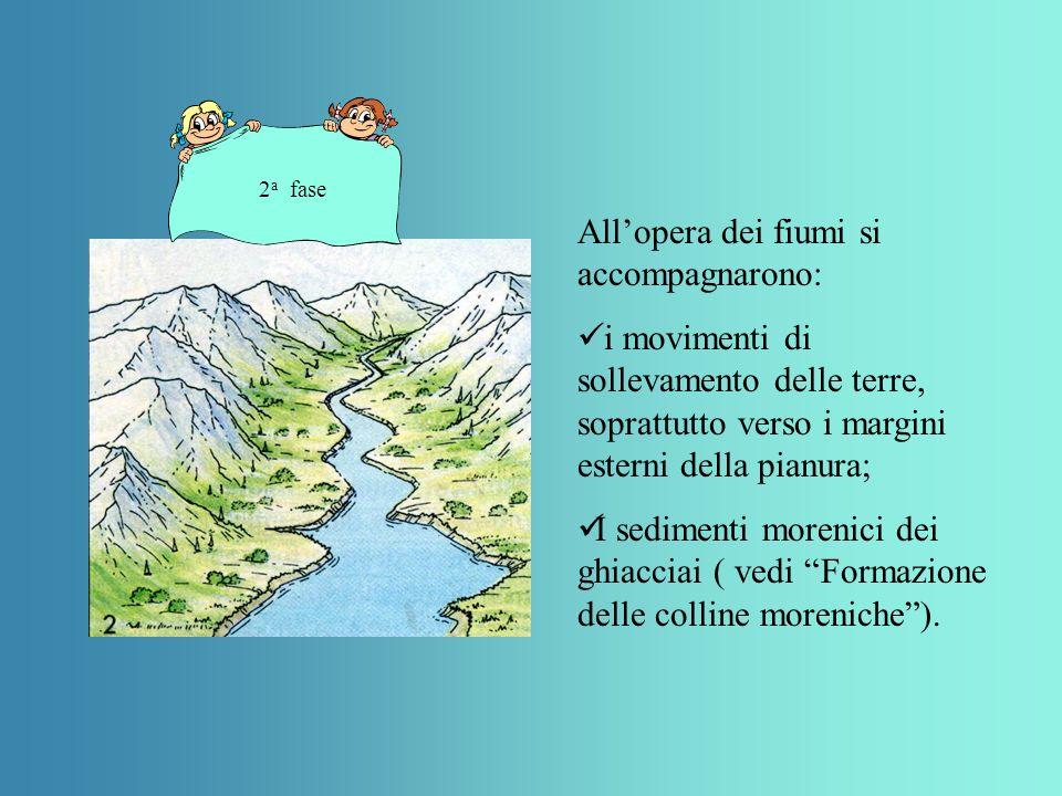 Allopera dei fiumi si accompagnarono: i movimenti di sollevamento delle terre, soprattutto verso i margini esterni della pianura; I sedimenti morenici dei ghiacciai ( vedi Formazione delle colline moreniche).