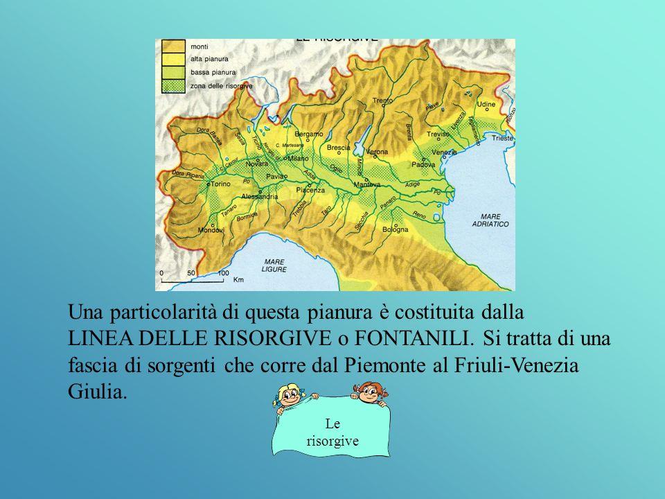 Una particolarità di questa pianura è costituita dalla LINEA DELLE RISORGIVE o FONTANILI.