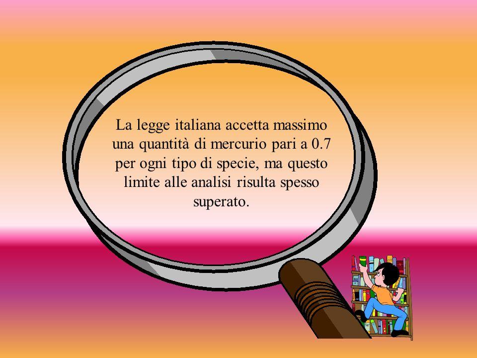La legge italiana accetta massimo una quantità di mercurio pari a 0.7 per ogni tipo di specie, ma questo limite alle analisi risulta spesso superato.