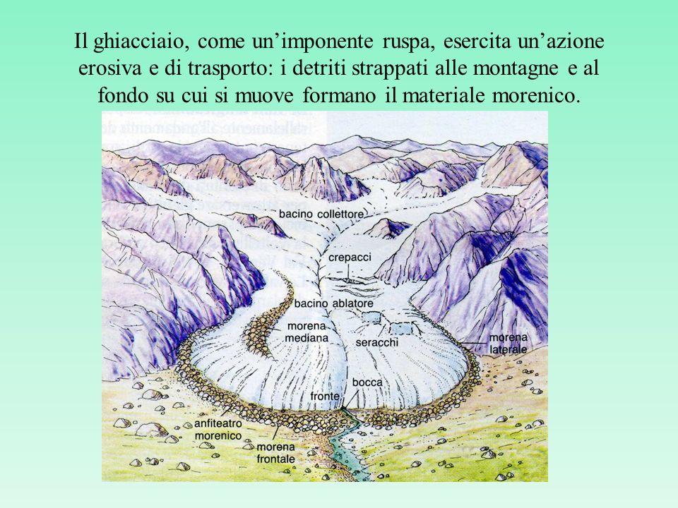 Il ghiacciaio, come unimponente ruspa, esercita unazione erosiva e di trasporto: i detriti strappati alle montagne e al fondo su cui si muove formano il materiale morenico.
