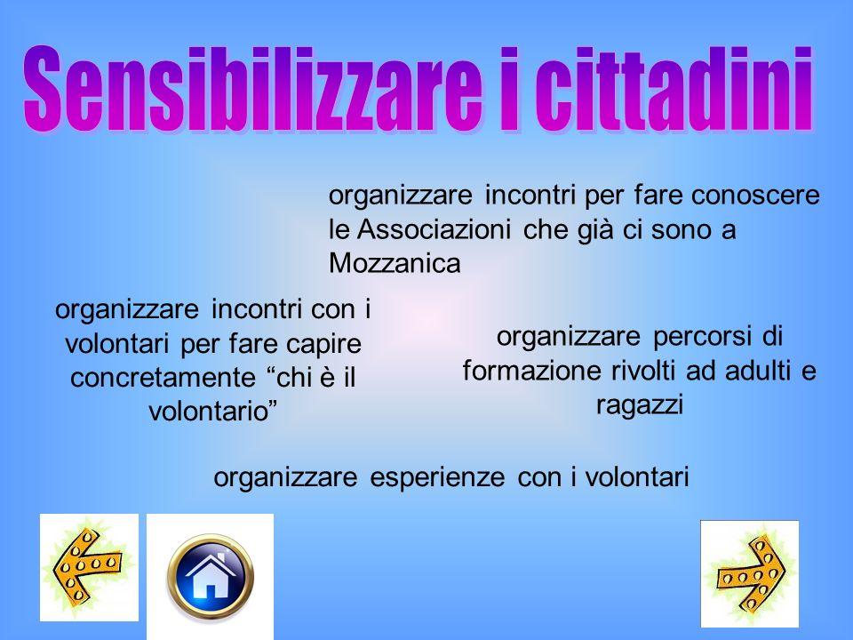 organizzare incontri per fare conoscere le Associazioni che già ci sono a Mozzanica organizzare incontri con i volontari per fare capire concretamente