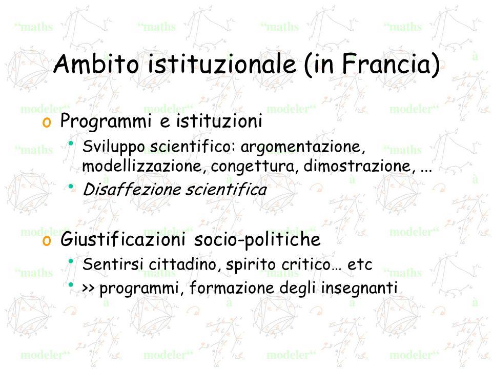 Ambito istituzionale (in Francia) oProgrammi e istituzioni Sviluppo scientifico: argomentazione, modellizzazione, congettura, dimostrazione,...