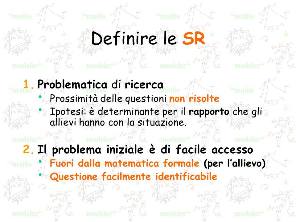 Definire le SR 1.Problematica di ricerca Prossimità delle questioni non risolte Ipotesi: è determinante per il rapporto che gli allievi hanno con la situazione.