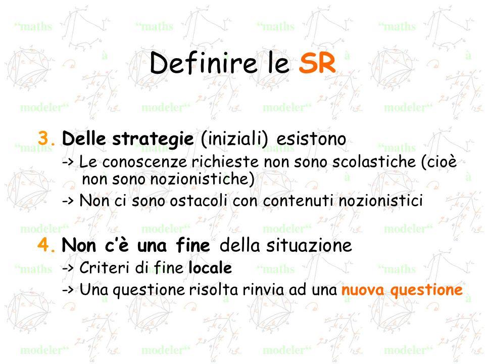 Definire le SR 3.Delle strategie (iniziali) esistono -> Le conoscenze richieste non sono scolastiche (cioè non sono nozionistiche) -> Non ci sono osta