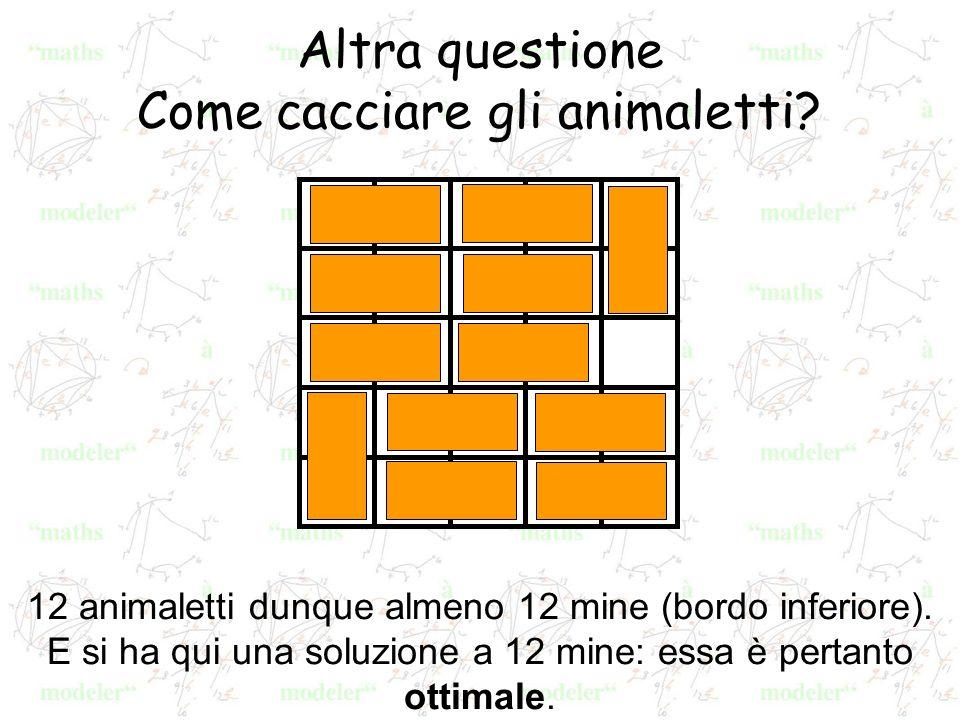 Altra questione Come cacciare gli animaletti? 12 animaletti dunque almeno 12 mine (bordo inferiore). E si ha qui una soluzione a 12 mine: essa è perta
