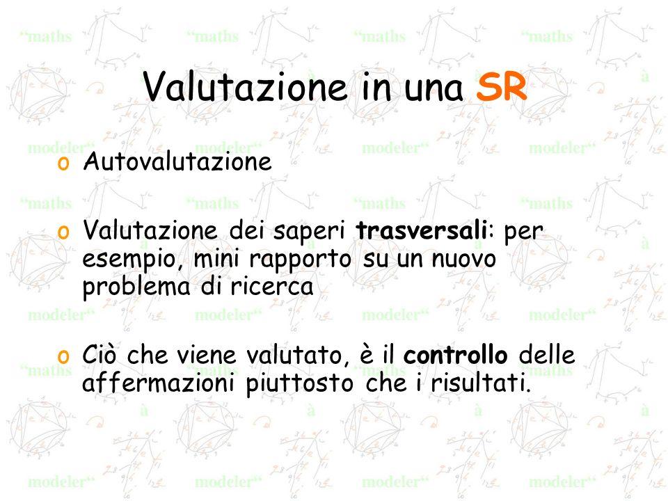 Valutazione in una SR oAutovalutazione oValutazione dei saperi trasversali: per esempio, mini rapporto su un nuovo problema di ricerca oCiò che viene