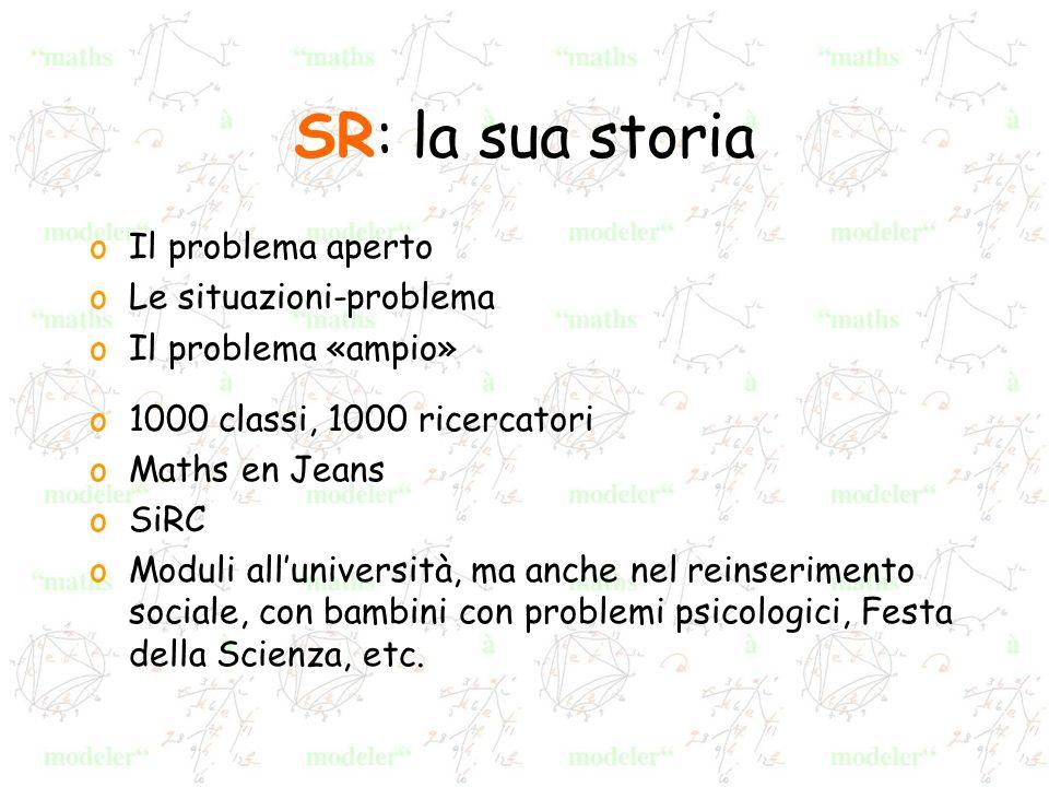 SR: la sua storia oIl problema aperto oLe situazioni-problema oIl problema «ampio» o1000 classi, 1000 ricercatori oMaths en Jeans oSiRC oModuli alluni