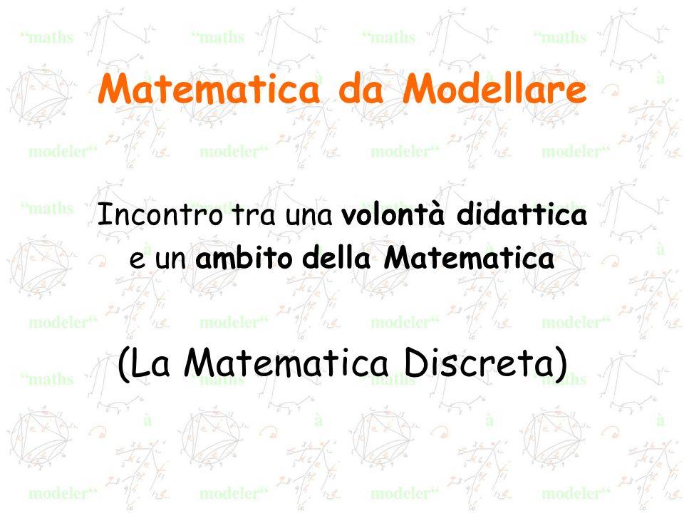 La Matematica Discreta oDiscreto / continuo oRicorrenza – induzione oRicchezza dei ragionamenti oForte sfida di verità oTeoria dei grafi: Relazione >>>> Grafo Rappresentazione (disegno) strumento Modellizzazione(modello) oggetto