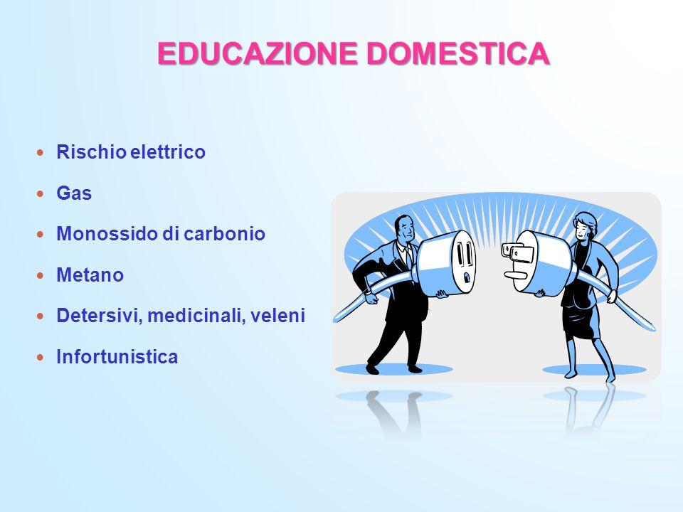 EDUCAZIONE DOMESTICA Rischio elettrico Gas Monossido di carbonio Metano Detersivi, medicinali, veleni Infortunistica