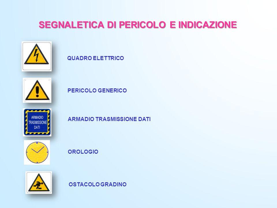 SEGNALETICA DI PERICOLO E INDICAZIONE QUADRO ELETTRICO PERICOLO GENERICO ARMADIO TRASMISSIONE DATI OROLOGIO OSTACOLO GRADINO