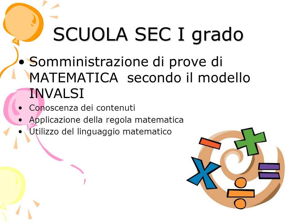 SCUOLA SEC I grado Somministrazione di prove di MATEMATICA secondo il modello INVALSI Conoscenza dei contenuti Applicazione della regola matematica Utilizzo del linguaggio matematico