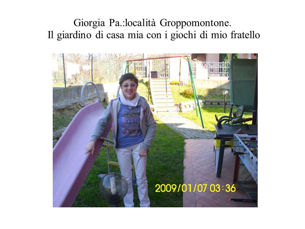 Giorgia Pa.:località Groppomontone. Il giardino di casa mia con i giochi di mio fratello