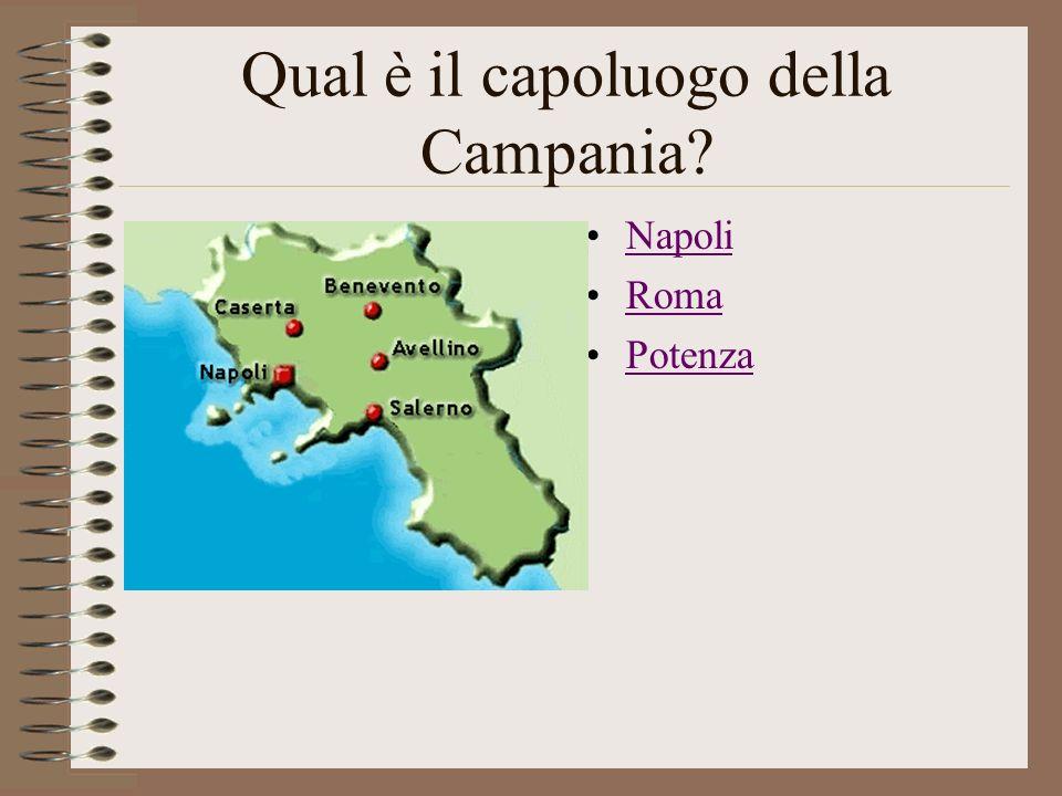 Qual è il capoluogo della Campania? Napoli Roma Potenza