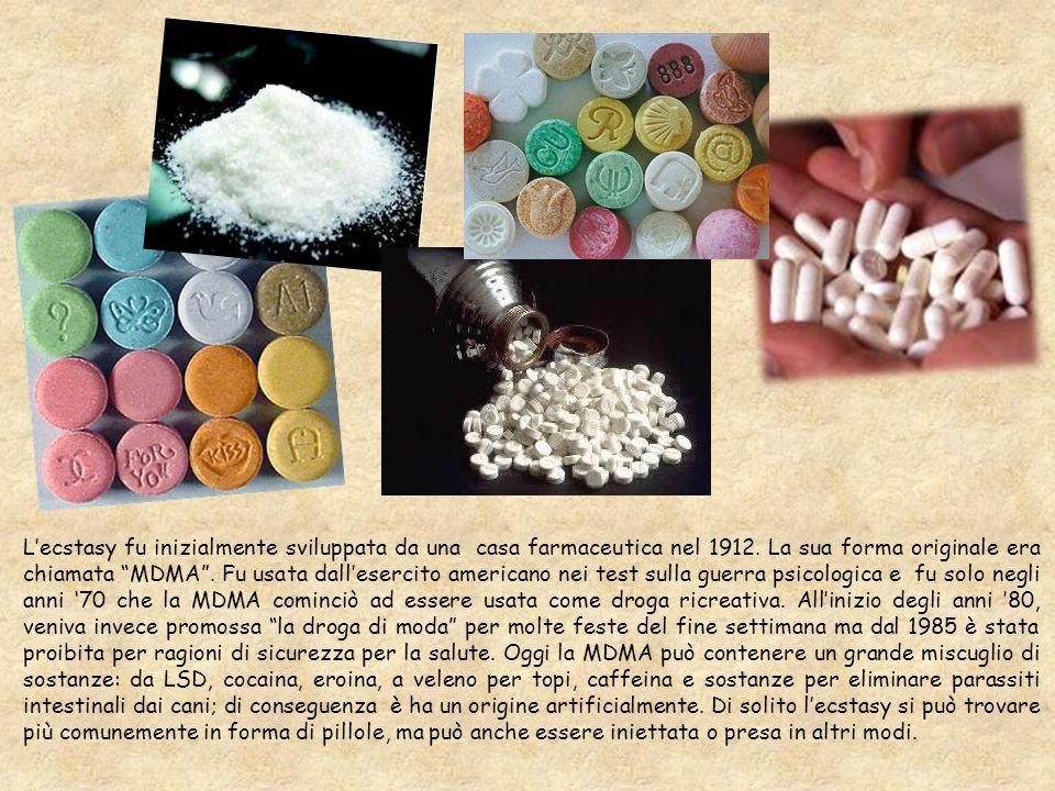 Lecstasy fu inizialmente sviluppata da una casa farmaceutica nel 1912. La sua forma originale era chiamata MDMA. Fu usata dallesercito americano nei t
