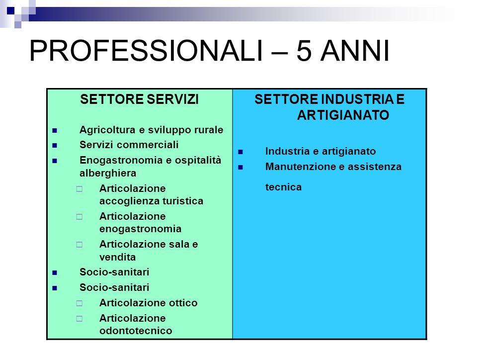 PROFESSIONALI – 5 ANNI SETTORE SERVIZI Agricoltura e sviluppo rurale Servizi commerciali Enogastronomia e ospitalità alberghiera Articolazione accogli