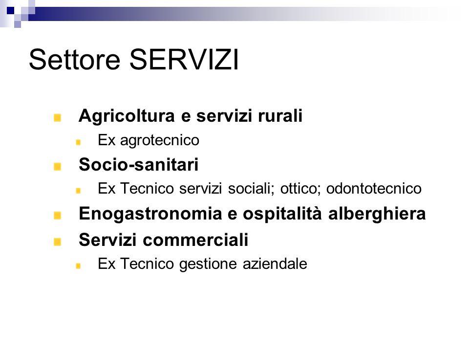 Settore SERVIZI Agricoltura e servizi rurali Ex agrotecnico Socio-sanitari Ex Tecnico servizi sociali; ottico; odontotecnico Enogastronomia e ospitali