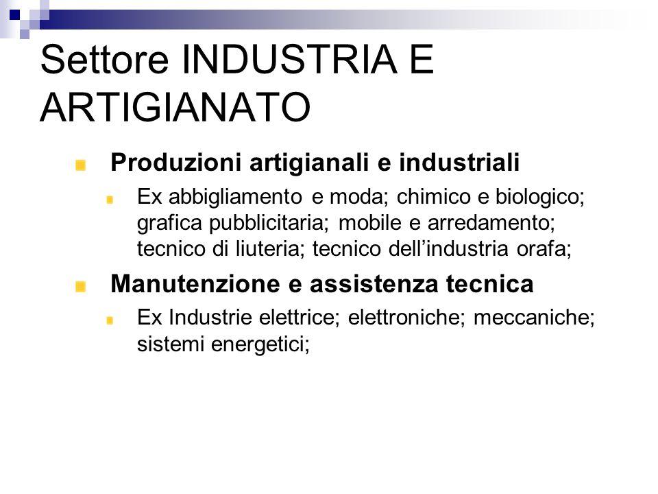 Settore INDUSTRIA E ARTIGIANATO Produzioni artigianali e industriali Ex abbigliamento e moda; chimico e biologico; grafica pubblicitaria; mobile e arr