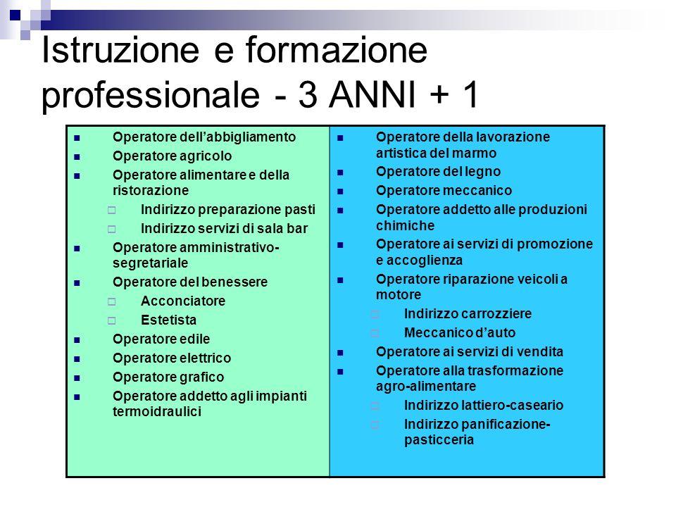 Istruzione e formazione professionale - 3 ANNI + 1 Operatore dellabbigliamento Operatore agricolo Operatore alimentare e della ristorazione Indirizzo