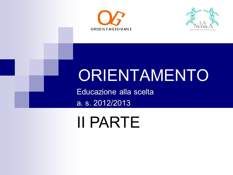 ORIENTAMENTO Educazione alla scelta a. s. 2012/2013 II PARTE