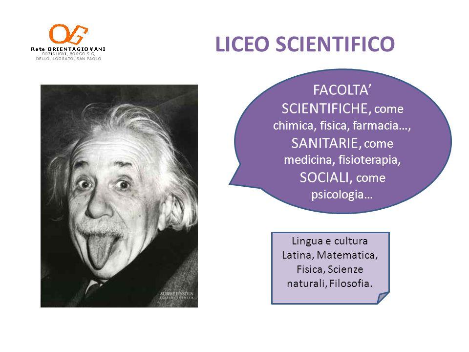 LICEO SCIENTIFICO FACOLTA SCIENTIFICHE, come chimica, fisica, farmacia…, SANITARIE, come medicina, fisioterapia, SOCIALI, come psicologia… Lingua e cu