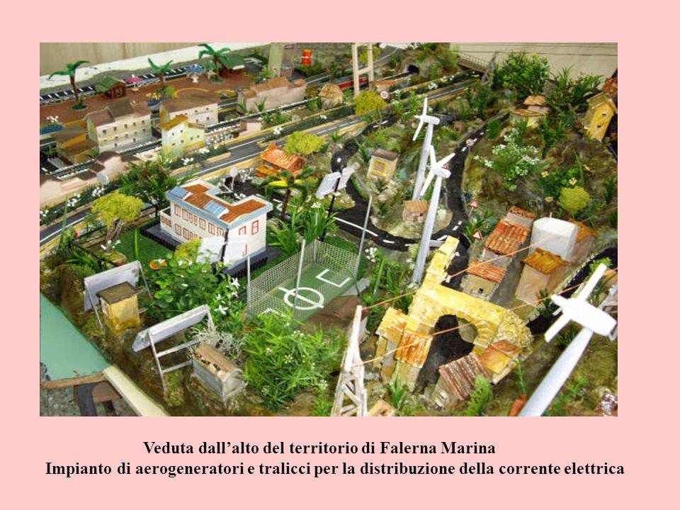 Veduta dallalto del territorio di Falerna Marina Impianto di aerogeneratori e tralicci per la distribuzione della corrente elettrica