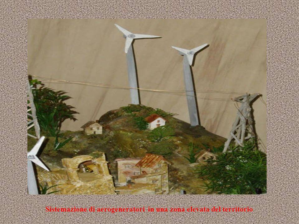 Sistemazione di aerogeneratori in una zona elevata del territorio