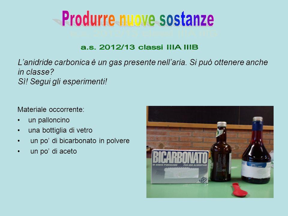 Materiale occorrente: un palloncino una bottiglia di vetro un po di bicarbonato in polvere un po di aceto Lanidride carbonica è un gas presente nellar
