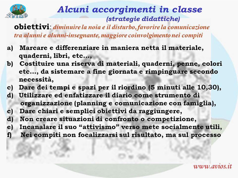 suggerimenti strategie organizzative www.avios.it Alcuni accorgimenti in classe (strategie didattiche) obiettivi : diminuire la noia e il disturbo, fa