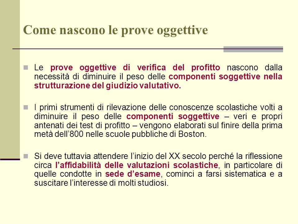 Come nascono le prove oggettive Saranno, infatti, le prime ricerche scientifiche sulla validità delle prove desame condotte, nel 1922, da H.