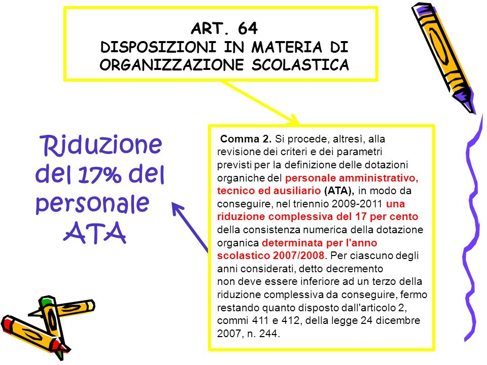 ART. 64 DISPOSIZIONI IN MATERIA DI ORGANIZZAZIONE SCOLASTICA Comma 2. Si procede, altresì, alla revisione dei criteri e dei parametri previsti per la