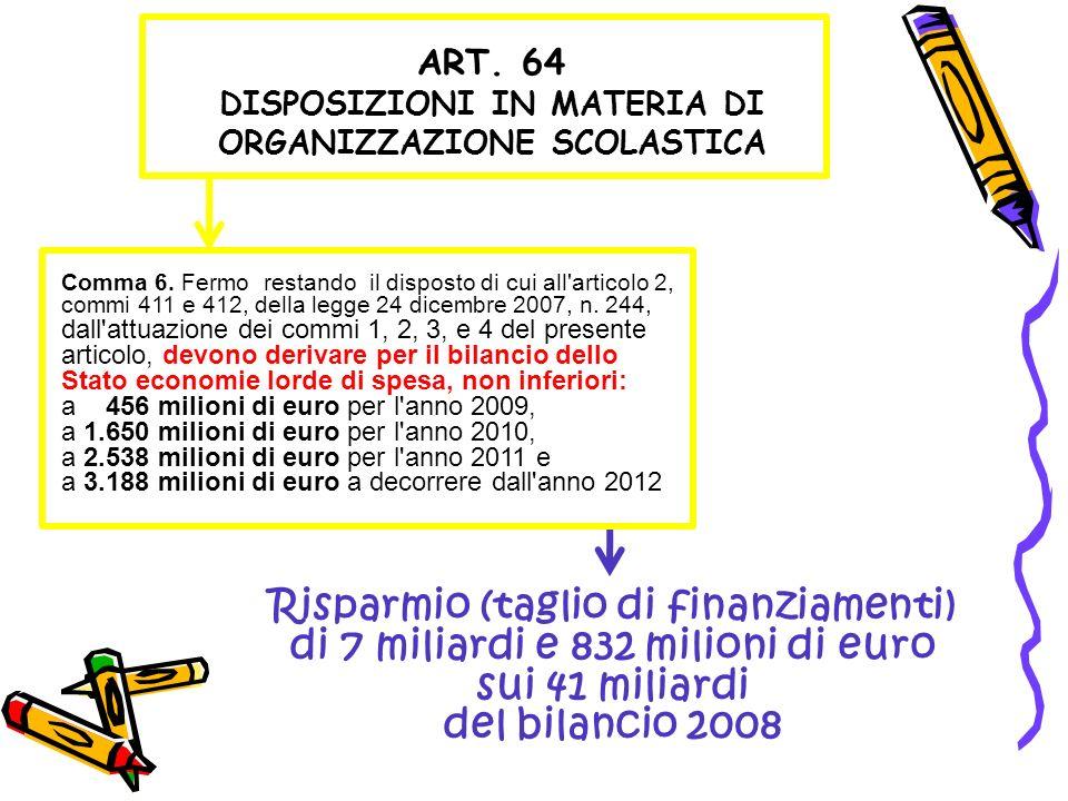 ART. 64 DISPOSIZIONI IN MATERIA DI ORGANIZZAZIONE SCOLASTICA Risparmio (taglio di finanziamenti) di 7 miliardi e 832 milioni di euro sui 41 miliardi d