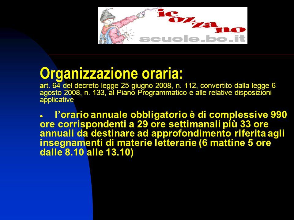 Organizzazione oraria: art.64 del decreto legge 25 giugno 2008, n.