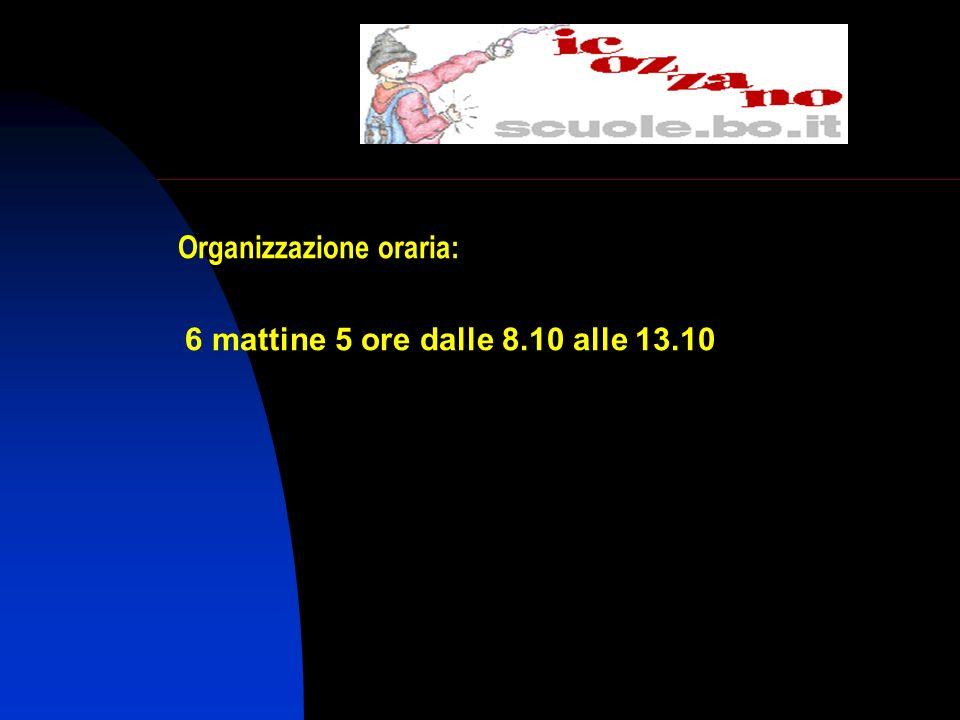 Organizzazione oraria: 6 mattine 5 ore dalle 8.10 alle 13.10