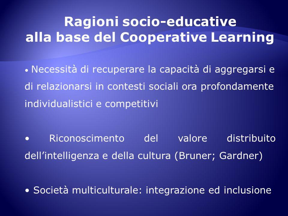 Ragioni socio-educative alla base del Cooperative Learning Necessità di recuperare la capacità di aggregarsi e di relazionarsi in contesti sociali ora