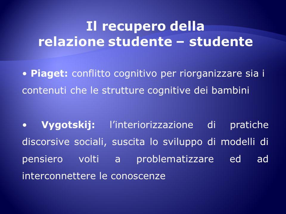 Il recupero della relazione studente – studente Piaget: conflitto cognitivo per riorganizzare sia i contenuti che le strutture cognitive dei bambini V