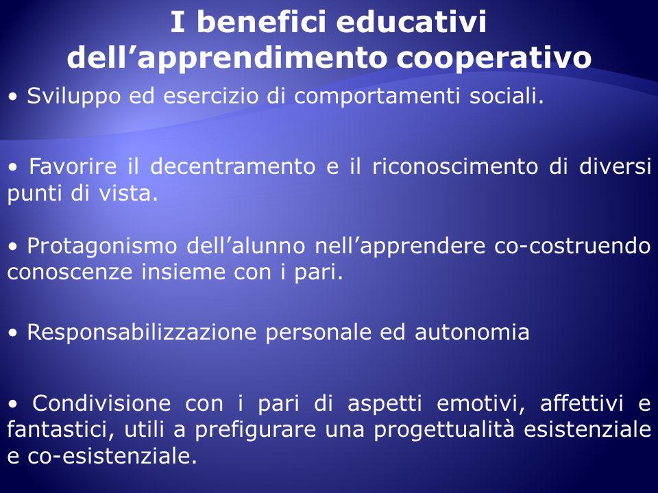 I benefici educativi dellapprendimento cooperativo Sviluppo ed esercizio di comportamenti sociali. Favorire il decentramento e il riconoscimento di di