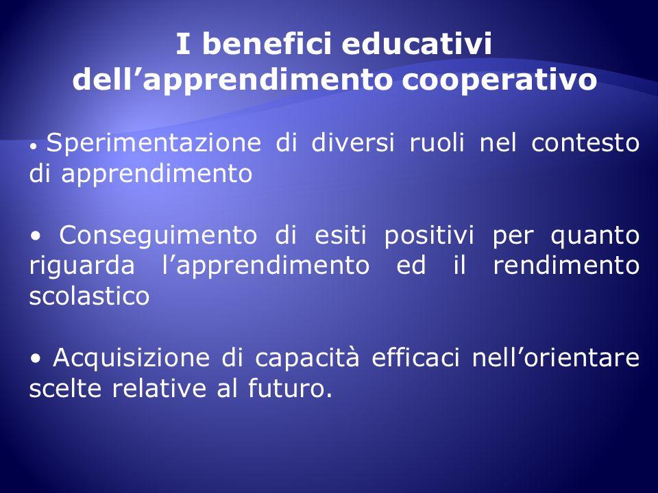 I benefici educativi dellapprendimento cooperativo Sperimentazione di diversi ruoli nel contesto di apprendimento Conseguimento di esiti positivi per