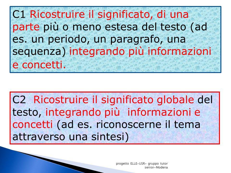 C1 Ricostruire il significato, di una parte più o meno estesa del testo (ad es. un periodo, un paragrafo, una sequenza) integrando più informazioni e