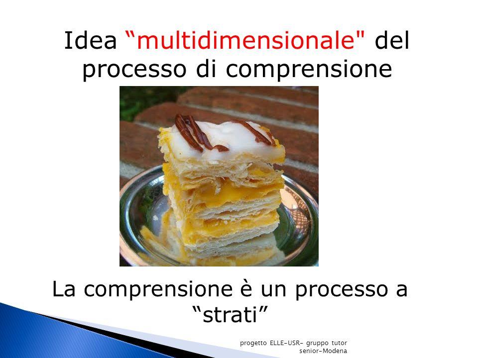 Idea multidimensionale del processo di comprensione progetto ELLE-USR- gruppo tutor senior-Modena La comprensione è un processo a strati