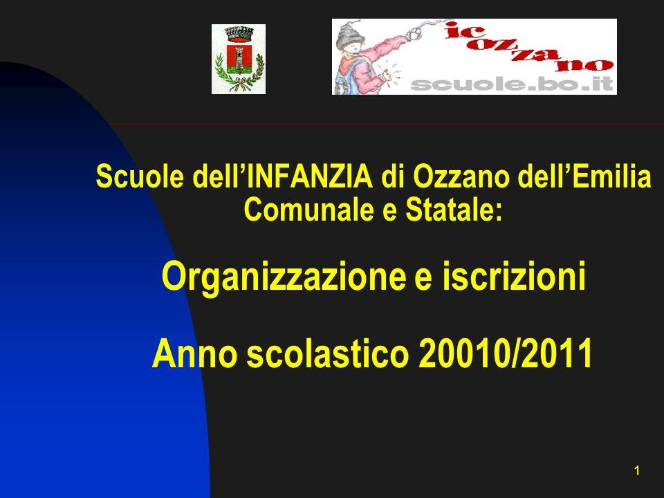 1 Scuole dellINFANZIA di Ozzano dellEmilia Comunale e Statale: Organizzazione e iscrizioni Anno scolastico 20010/2011