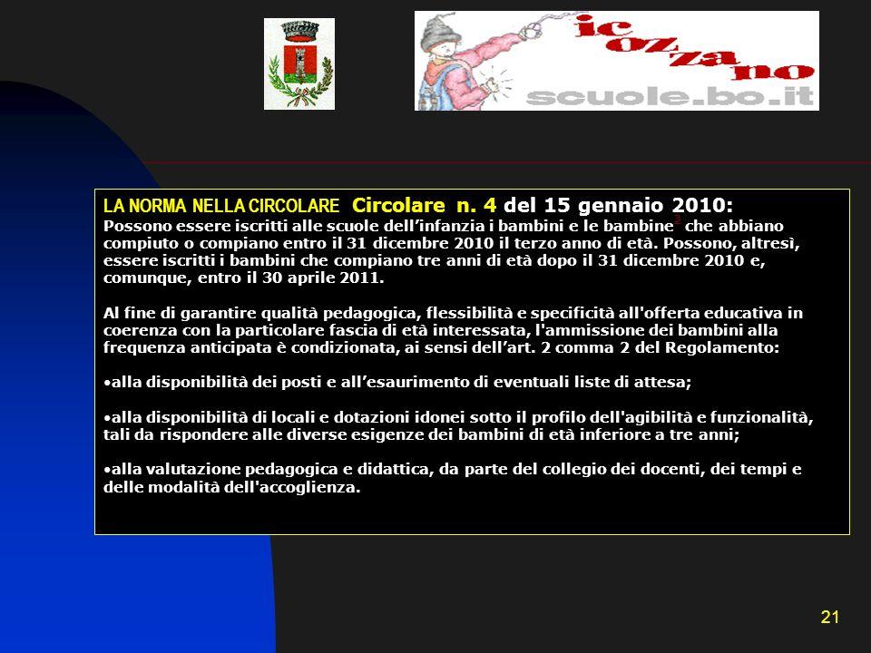 21 LA NORMA NELLA CIRCOLARE Circolare n. 4 del 15 gennaio 2010: Possono essere iscritti alle scuole dellinfanzia i bambini e le bambine 3 che abbiano
