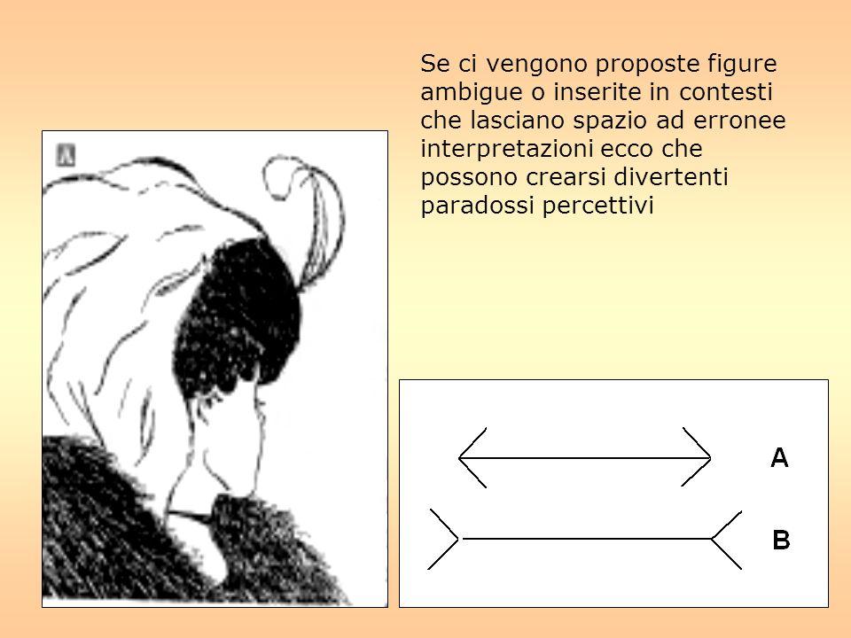 I nostri occhi interpretano la figura in maniera prospettica a causa delle due rette oblique laterali che simulano il cosiddetto punto di fuga .