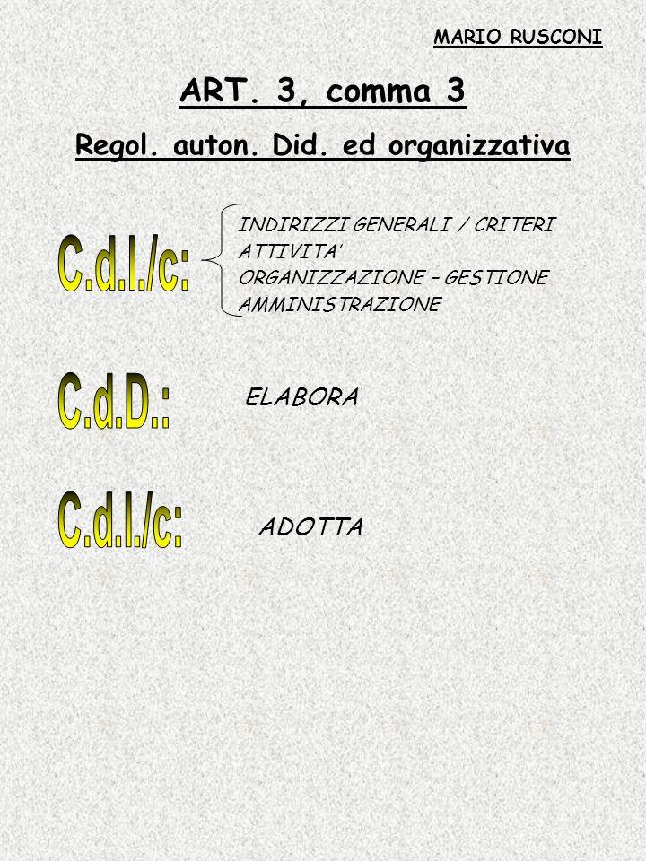 ART. 3, comma 3 Regol. auton. Did. ed organizzativa INDIRIZZI GENERALI / CRITERI ATTIVITA ORGANIZZAZIONE – GESTIONE AMMINISTRAZIONE ELABORA ADOTTA MAR