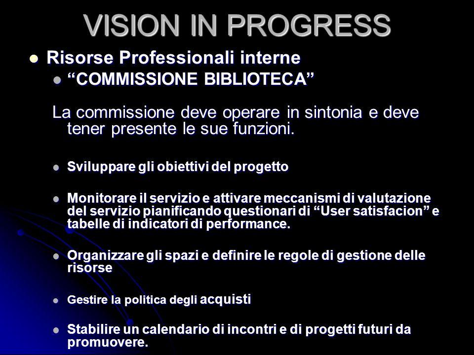 VISION IN PROGRESS Risorse Professionali interne Risorse Professionali interne COMMISSIONE BIBLIOTECA COMMISSIONE BIBLIOTECA La commissione deve opera
