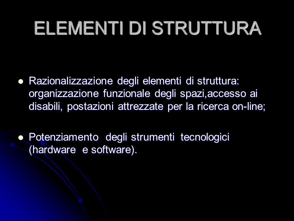 ELEMENTI DI STRUTTURA Razionalizzazione degli elementi di struttura: organizzazione funzionale degli spazi,accesso ai disabili, postazioni attrezzate