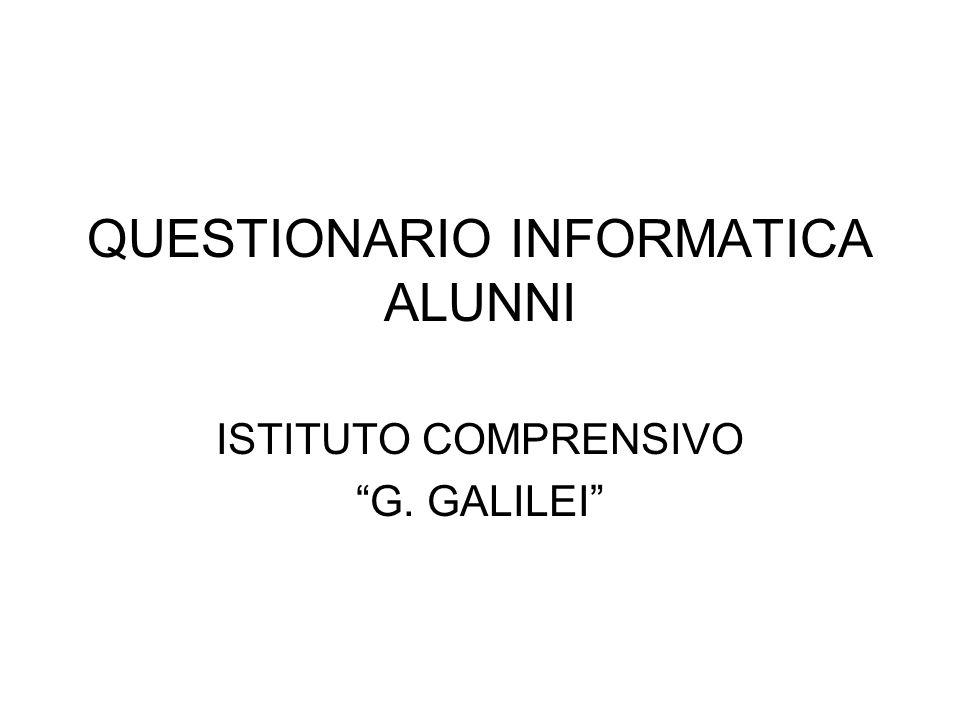 QUESTIONARIO INFORMATICA ALUNNI ISTITUTO COMPRENSIVO G. GALILEI